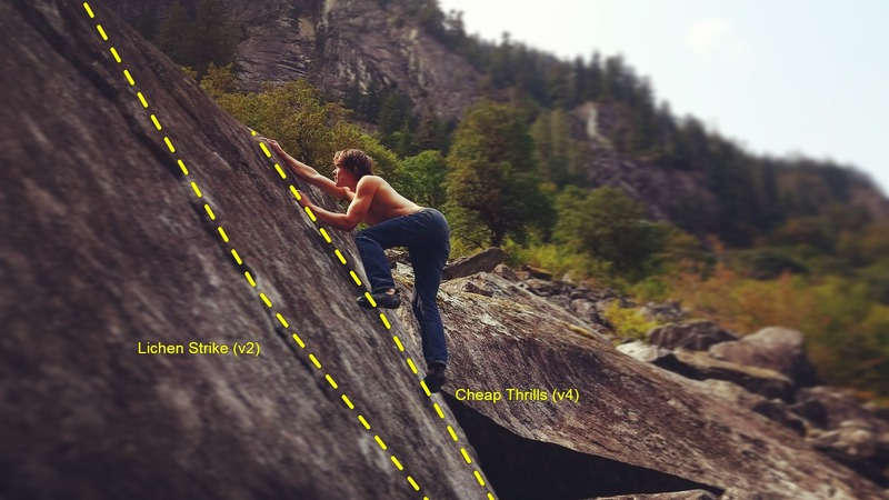 The Cheap Thrills Boulder. Kyle Love balances his way up Cheap Thrills (v4).