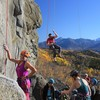 Late Sept Day on First Amendment.  Awesome belay area that is shared with other great climbs.