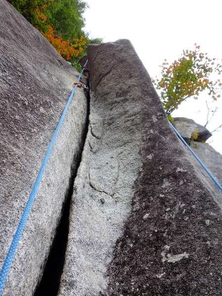 Left option to finish to Magic Fern. If you rap from the ledge 3/4 of the way up, you miss out on this section of great climbing and a much better anchor above.