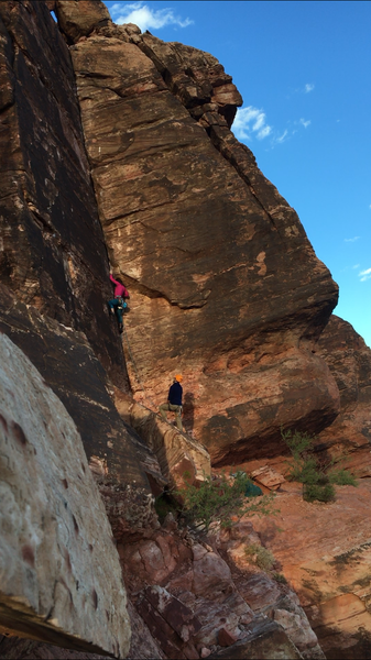 "Valentine's Day (5.8+) in Red Rock Canyon. Gear to 3"" with a two bolt anchor to the left at the top. A great line, stout for a 5.8."