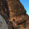 """Valentine's Day (5.8+) in Red Rock Canyon. Gear to 3"""" with a two bolt anchor to the left at the top. A great line, stout for a 5.8."""