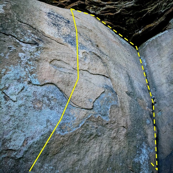 Use an undercling on a easy start to thinking holds. It is advised to either drop on your pad, or down climb the crack to climbers left.