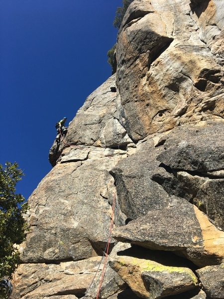 P2 traverse just before '5.9 powerful bulge' and 'horrendous rope drag'