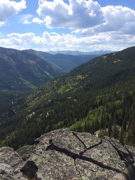 View from the top of Wild Tower looking West down Independence Pass with the Elk Mountains on the horizon.