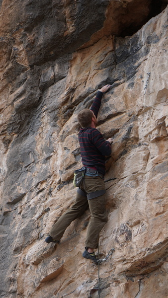 Cory nears the pod before the final crux.