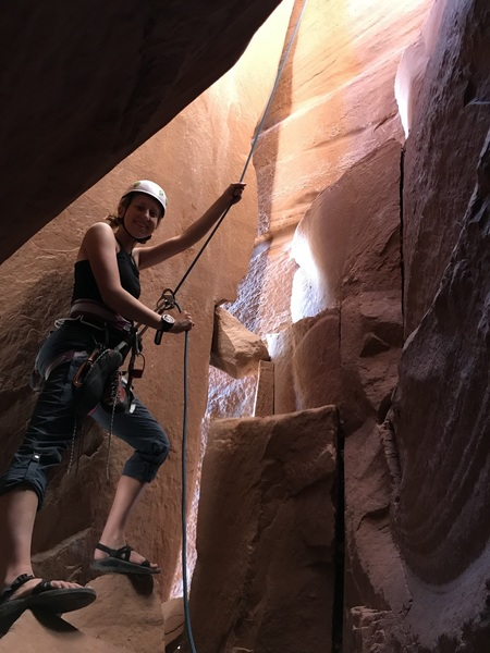 Zion at the belay on Interiors.  Great route!