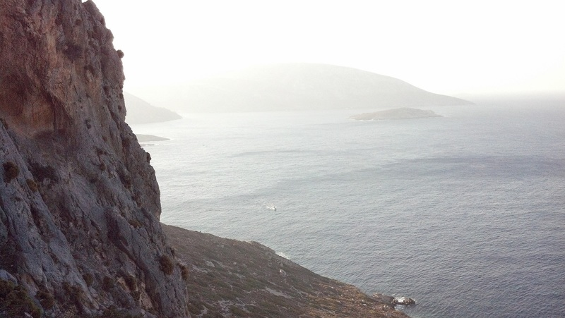 View from start of Wild Country, in the direction of Kalymnos.  Just vIsible is the 8a ferry headed straight for the South Face drop-off point; some low outcrop into the sea (also just visible).
