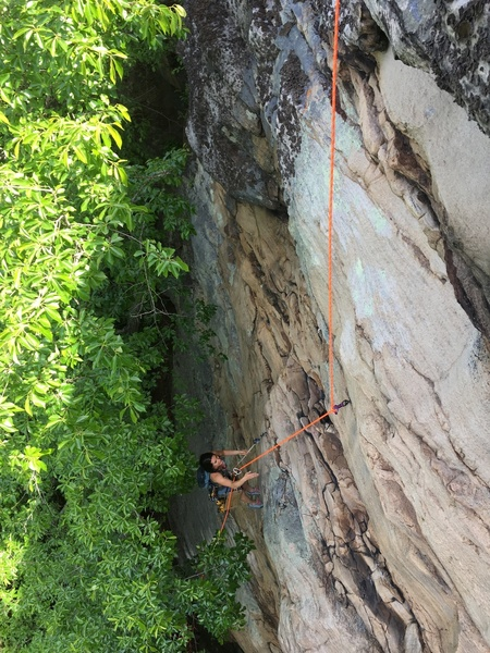 """Kylie working to bolt the upper section of """"Spirit Blade"""".  Can you spot her friend who lives on the route?"""