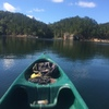 Approaching the bluffs from Lake Ouachita St. Park via canoe. (approx. 4mi journey)