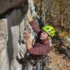 Protecting the roof (crux). Takes a BD #.75 - #2 cam