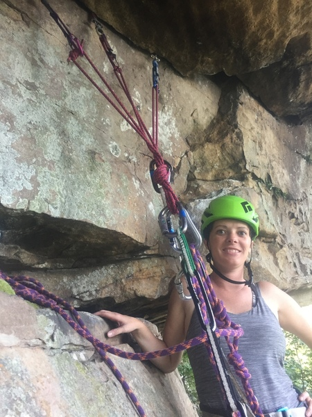 """Me and Lauren Wright on the """"first pitch"""" of Elephant Crack practicing multi-pitch skills before the roof."""
