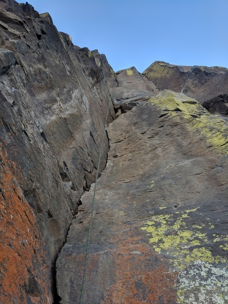 Looking up from the belay station