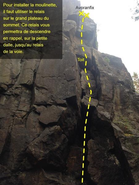 Avoranfix (5.8). Grimpez dans la cheminé jusqu'à un petit toit. Une fois le toit passé, une fissure nous permet de progresser jusqu'au relais.