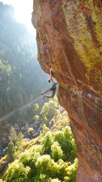 Sticking the hueco!<br> <br> Climber: Sam Dorsey.
