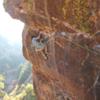 Desdischado on a beautiful Eldo afternoon.<br> <br> Climber: Becket Aizeki.