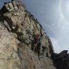 Matt leading NE Ridge of Black Peak. Rock quality is definitely not ideal for gear placement.