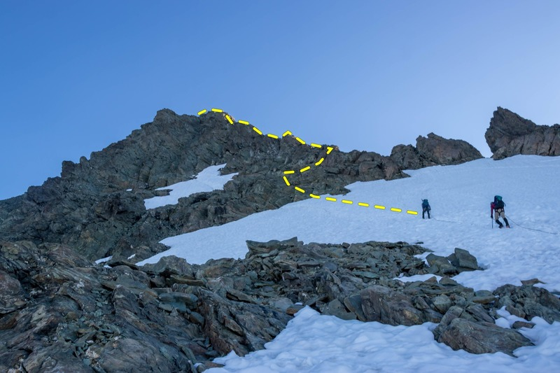 How our team got onto the ridge. From the description of the route, it seems most teams get on the ridge lower down.
