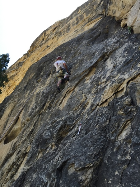 Toproping at the crux