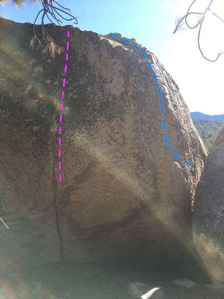 Exterminator and Crossfire on the D Boulder in the Teflon Presidents area at Horse Flats.