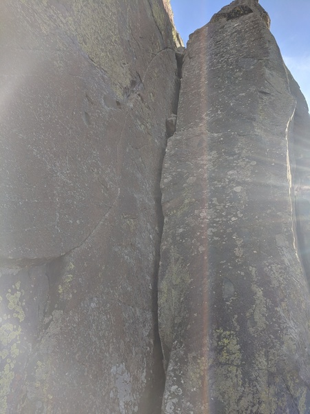 Climb the wide crack to the top