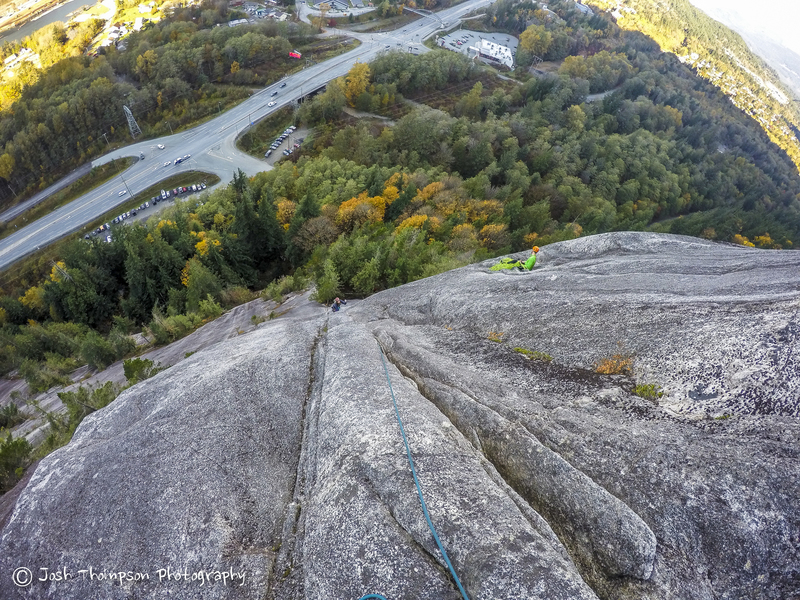 Looking down the 1st (3rd) pitch of Vector.  The ledge on the right is the top of the 3rd pitch of St. Vitus