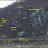An annotated photo of Loudon Heights and surrounding rock. Red dots indicate rap stations consisting of modern (2000's) fixed gear.