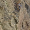 At the redpoint crux passing the last bolt