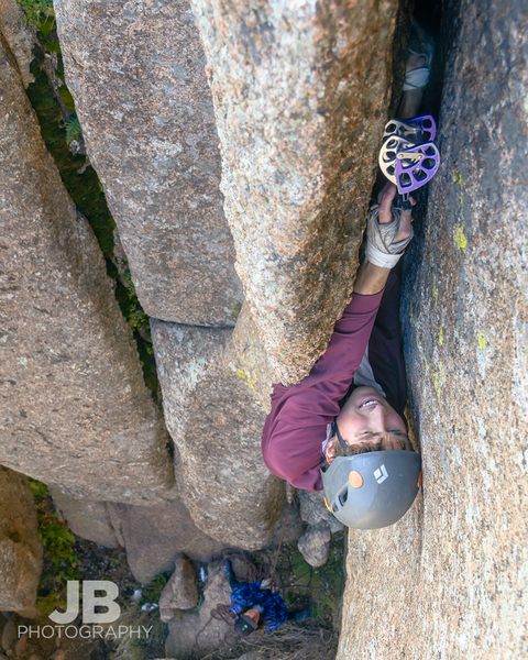 Garrett Knorr plugging a cam in the OW flake.