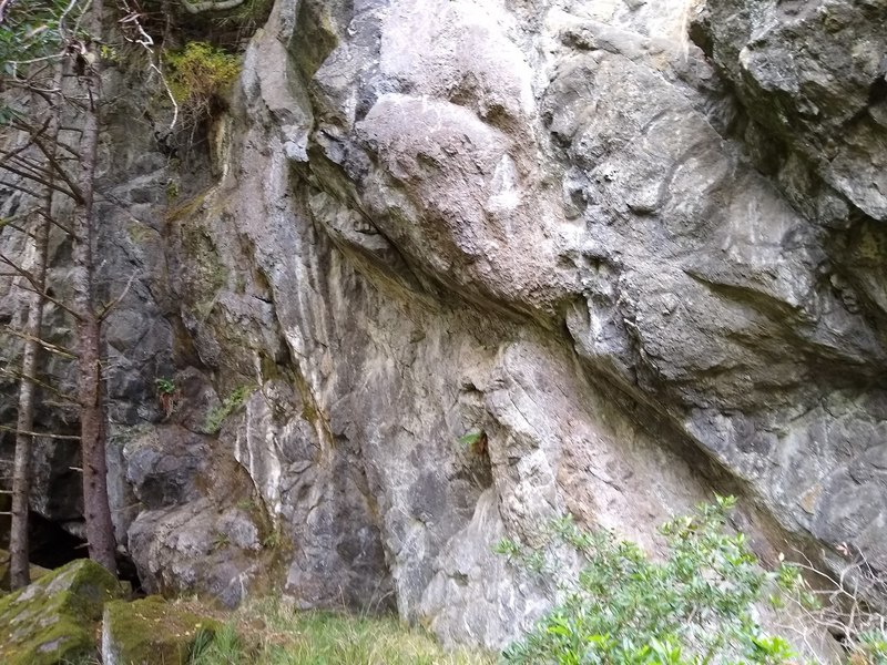 Overhung walls at the back crags.
