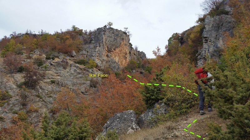 Nearing the Ikar Face south of Ohrid, FYROM (Macedonia).
