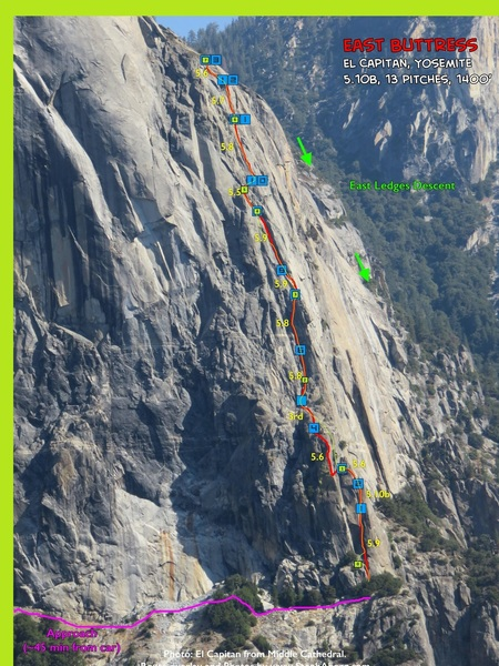 This is Steph Abegg's photo and her route in red. I overlaid our 7-pitch variation in lime-green. Steph, if I overstepped my bounds using your photo, please forgive me and I'll make sure it gets removed. PS: your website rocks!!!