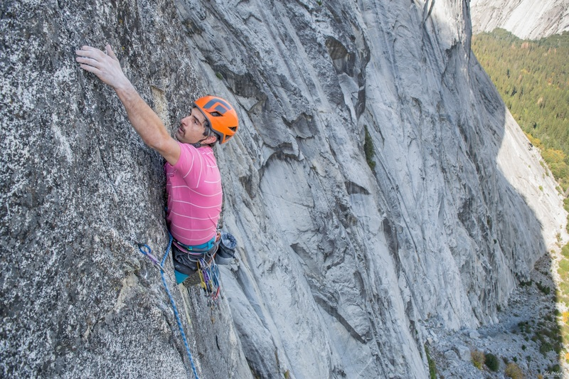 Shuan Reed moving through the crux to the fingerlock