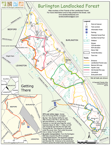 A map showing entire forest reserve, trail system, and location of the boulders on the trail.