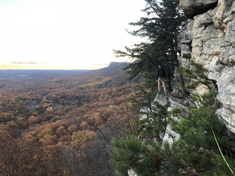 View of the Dennis belay ledge from Jackie rappel