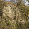 The center aspect of Sun Buttress, viewed from the southwest. Love that tree growing up the middle of the wall!