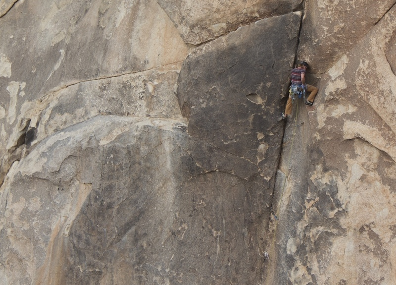 Getting ready to move into the traverse on the first pitch.