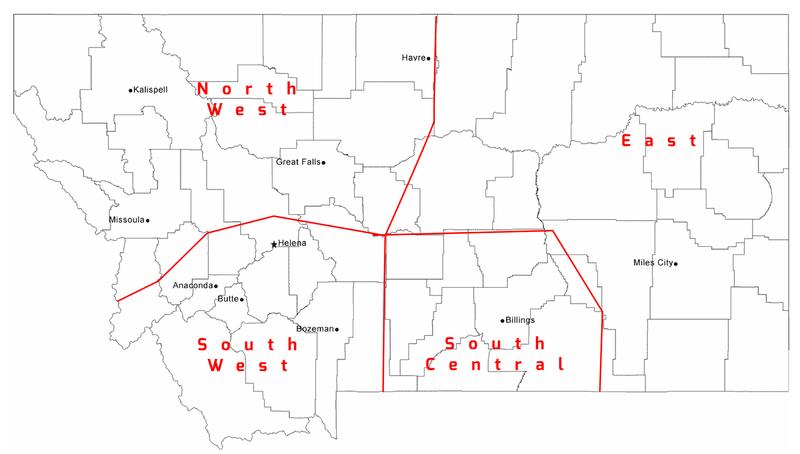 Map of Montana Regions
