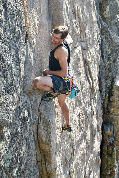 David rocking onto a high foot after some quality face climbing.