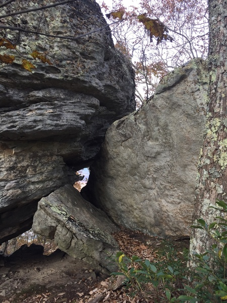 Front side of boulder and down climb area