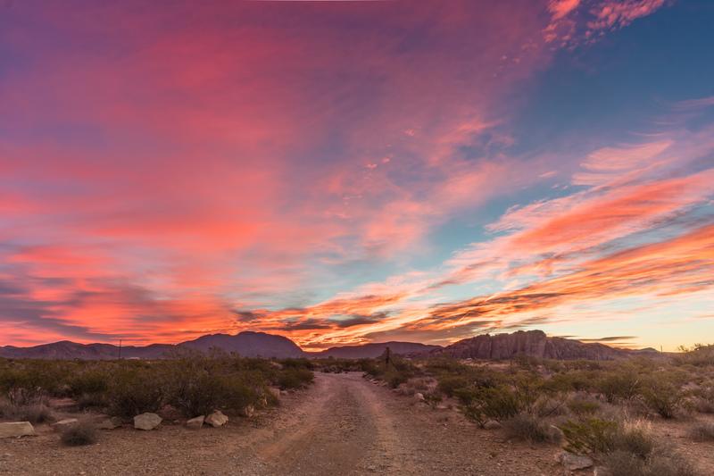 Sunrise at the Hueco Rock Ranch