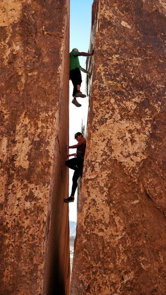 Random climbers playing around in the crack