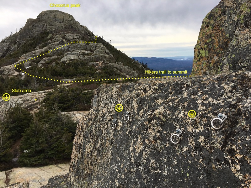 Two new anchors appeared in the middle of nowhere. They are 200 ft to the right of the slab area and the rock below them is in the 5.1-5.4 range