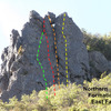 East Face of the Northern Formation - approximate routes shown: Green- far left side (5.6-5.7) ;   Red- East Face 5.7   ;    Orange-the Big Crack  5.4  ;  Yellow: Right of Crack 5.6