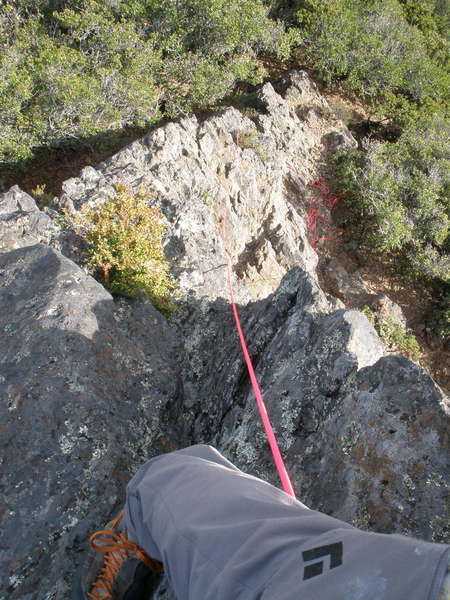 """Looking DOWN the East Ridge/ """"Arete"""" from near the top"""