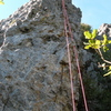 The left rope hangs on the East Face Route