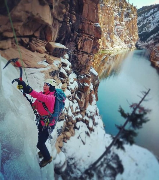 Kylie on Chipeta Falls.<br> <br> Photo credit: Aaron Wilcox.