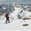 Cover boy & attorney, Rick Accomazzo preparing to drop Crooked Couloir has n Mt. Audubon, Indian Peaks Co.