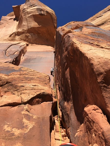 The route from the belay, showing the scrambly start and the thin hands crack.