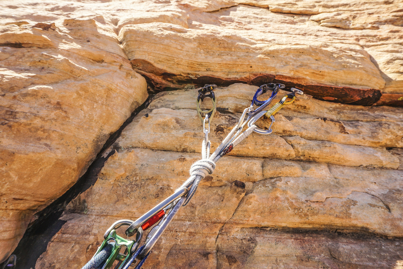 P3 anchor #1-#2 Metolius. Plus there is a purple Totem (0.5 Camalot) crack about 18 inches below and left.