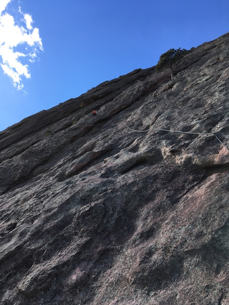 Setting up the belay at the second eyebolt.